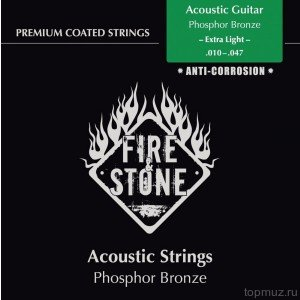 Струны для 12-струнной гитары FIRE&STONE Acoustic Guitar Phosphor Bronze 12-string Extra Light 10-50 Coated