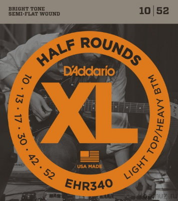 D'ADDARIO EHR340 Light Top/Heavy Bottom 10-52 струны для электрогитары