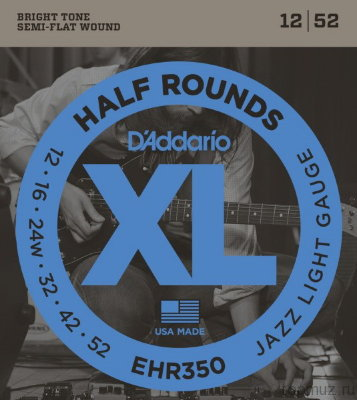 D'ADDARIO EHR350 Jazz Light 12-52 струны для электрогитары