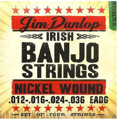 Dunlop DJN Banjo Nickel Irish Tenor - Nickel 12-36 струны для 4-струнного тенор-банджо