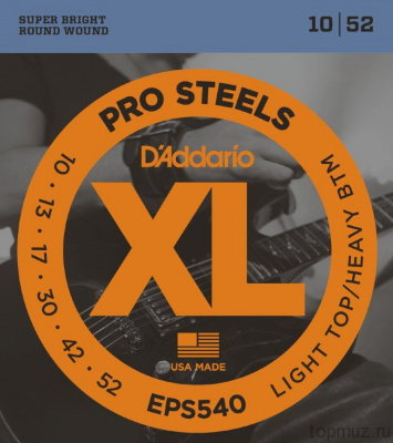 D'ADDARIO EPS540 Light Top/Heavy Bottom 10-52 струны для электрогитары