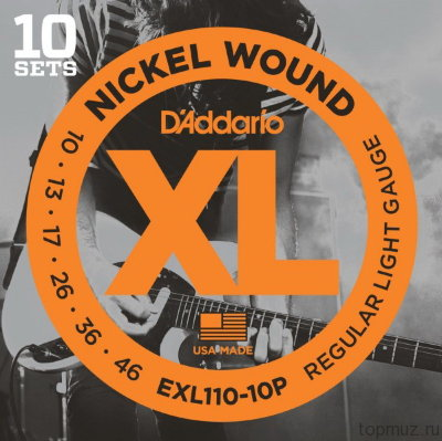 D'ADDARIO EXL110-10P Regular Light 10-46 10 комплектов струны для электрогитары
