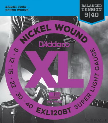 D'ADDARIO EXL120BT Super Light 9-40 струны для электрогитары