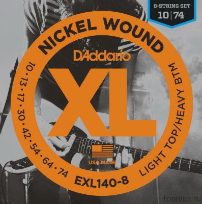 D'ADDARIO EXL140-8 Light/Heavy 10-74 струны для 8-струнной электрогитары