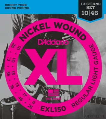 D'ADDARIO EXL150 Regular Light 10-46 струны для 12-ти струнной электрогитары