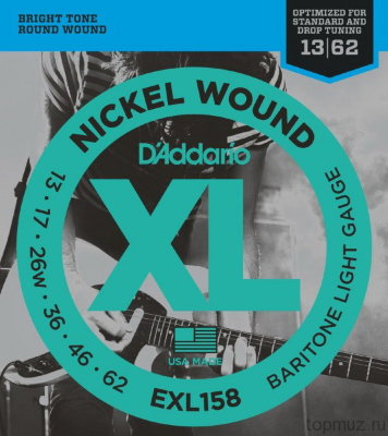 D'ADDARIO EXL158 Light 13-62 струны для электрогитары баритон