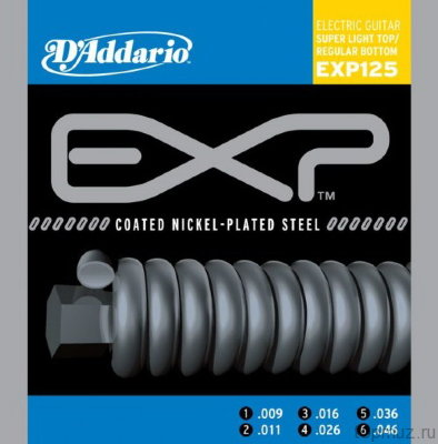 D'ADDARIO EXP125 Super Light Top/Regular Bottom 9-46 струны для электрогитары