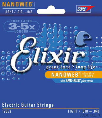 ELIXIR 12052 NanoWeb Anti-rust Light 10-46 струны для электрогитары