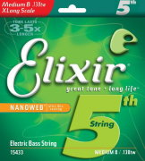 ELIXIR 15433 Nanoweb Extra Long Medium B 130 одиночная 5-я струна для бас гитары