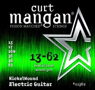 CURT MANGAN 13-62 Nickel Wound (Baritone) Set струны для электрогитары-баритон