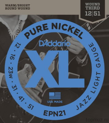 D'ADDARIO EPN21 Jazz Light 12-51 струны для электрогитары