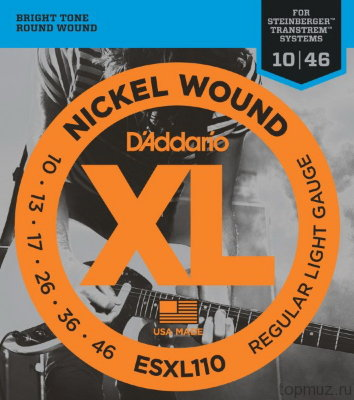 D'ADDARIO ESXL110 Super Light 10-46 струны для безголовой электрогитары типа Steinberger