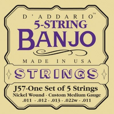 D'Addario J57 - струны для банджо 5 String and Tenor Banjo/Custom Medium/Nickel