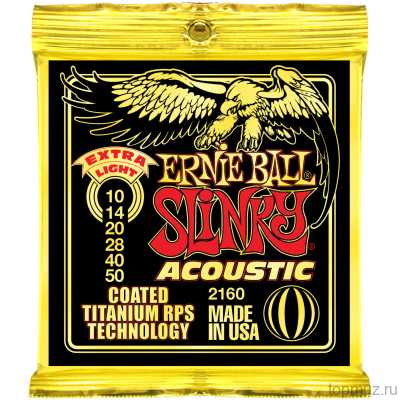 Ernie Ball 2160 Coated Titanium RPS 80/20 Extra Light (10-14-20w-28-40-50) для акустической гитары