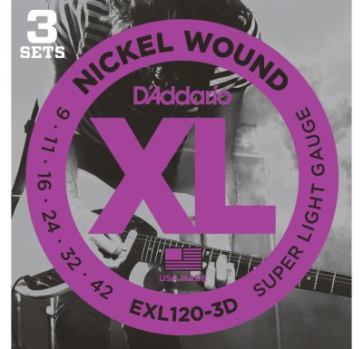 D'Addario EXL120/3D - струны для электрогитары Super Light 9-42, 3 комплекта