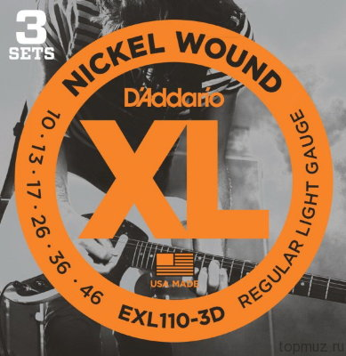D'ADDARIO EXL110-3D Regular Light 10-46 3 комплекта струны для электрогитары