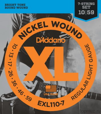 D'ADDARIO EXL110-7 Regular Light 10-59 струны для 7-струнной электрогитары