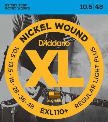D'ADDARIO EXL110+ Regular Light Plus 10.5-48 струны для электрогитары