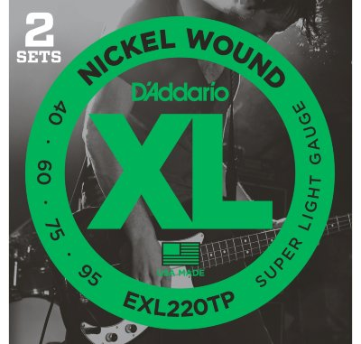 D'Addario EXL220TP - 2 комплекта струн бас-гитары Super Long/Soft Long 40-95