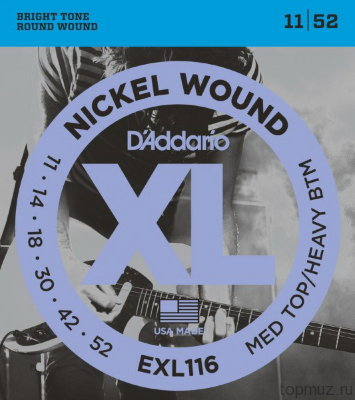 D'ADDARIO EXL116 Medium Top / Heavy Bottom 11-52 струны для электрогитары