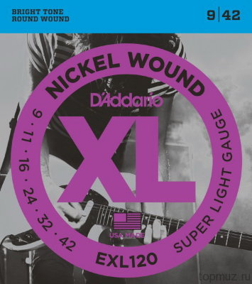 D'ADDARIO EXL120 Super Light 9-42 струны для электрогитары