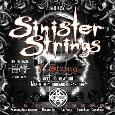 KERLY KQXS7-1160 Sinister 7 Strings Nickel Plated Steel Tempered струны для 7-струнной электрогитары