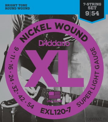D'ADDARIO EXL120-7 Super Light 9-54 струны для 7-струнной электрогитары