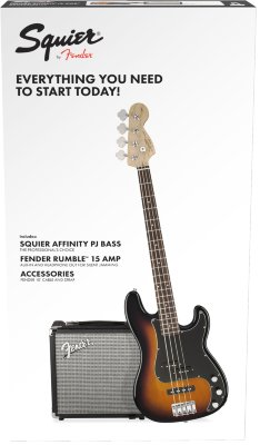 Squier Affinity Series™ Precision Bass® PJ Pack Laurel Fingerboard Brown Sunburst бас-гитара в наборе
