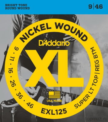 D'ADDARIO EXL125 Super Light Top/Regular Bottom 9-46 струны для электрогитары