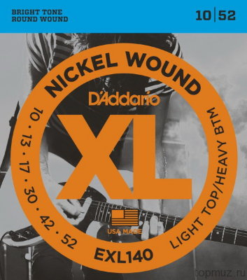 D'ADDARIO EXL140 Light Top/Heavy Bottom 10-52 струны для электрогитары