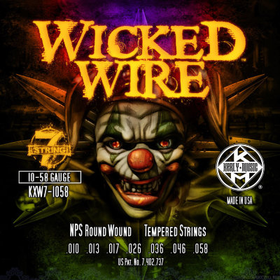 KERLY KXW7-1058 Wicked Wire 7 Strings Roundwound Tempered струны для 7-струнной электрогитары