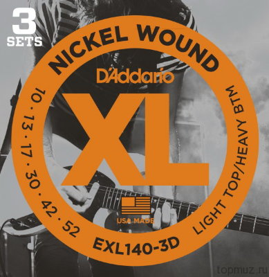 D'ADDARIO EXL140-3D Light Top/Heavy Bottom 10-52 3 комплекта струны для электрогитары