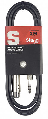 STAGG SAC3PSXF DL микрофонный кабель XLR мама-Jack stereo 3 м