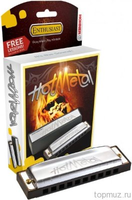 Губная гармошка HOHNER Hot Metal F (M57206X) с уроками