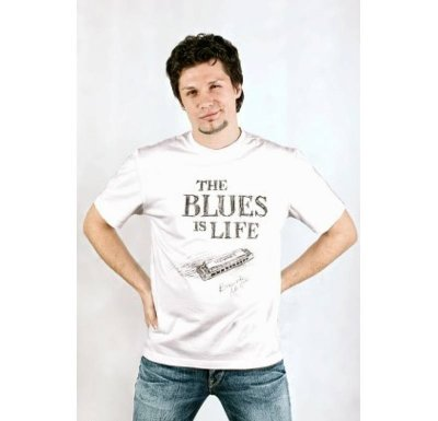 Футболка ArdiMusic 9006 L (48) рисунок The Blues is Life в светлых тонах