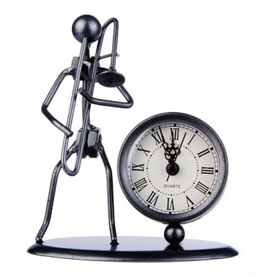 GEWA Sculpture Clock Trombone часы-скульптура сувенирные тромбонист металл 12x6.5x13 см