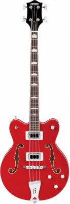 Gretsch G5442BDC Electromatic Hollow Body 30.3' Short Scale Bass, RW F-board, Transparent Red бас-гитара