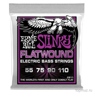 Ernie Ball 2811 Power Slinky Flatwound Bass (55-75-90-110) для бас-гитары