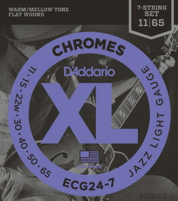 D'ADDARIO ECG24-7 Jazz Light 11-65 струны для 7-струнной электрогитары
